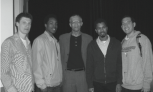 From left to right: Ben Diley, Leonidas Caldwell, Chokwe Lumumba, Elvin Caldwell and Jeff Hollenbeck | Photo by Jen Wendel