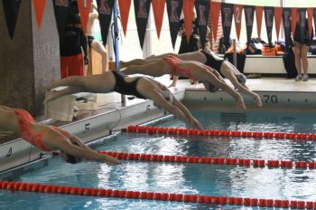 The women's swim and dive team earlier in the season as they faced Alma College. Photo by Chuck Stull